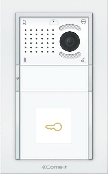 Вызывная панель Comelit IKALL с 1 кнопкой белая со считывателем VIP
